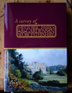 """An image of the front cover of tthe book """"A Survey of Historic Parks and Gardens in Worcestershire"""""""